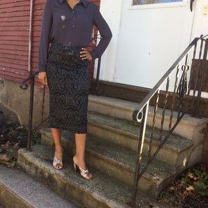 Patterned Midi Skirt